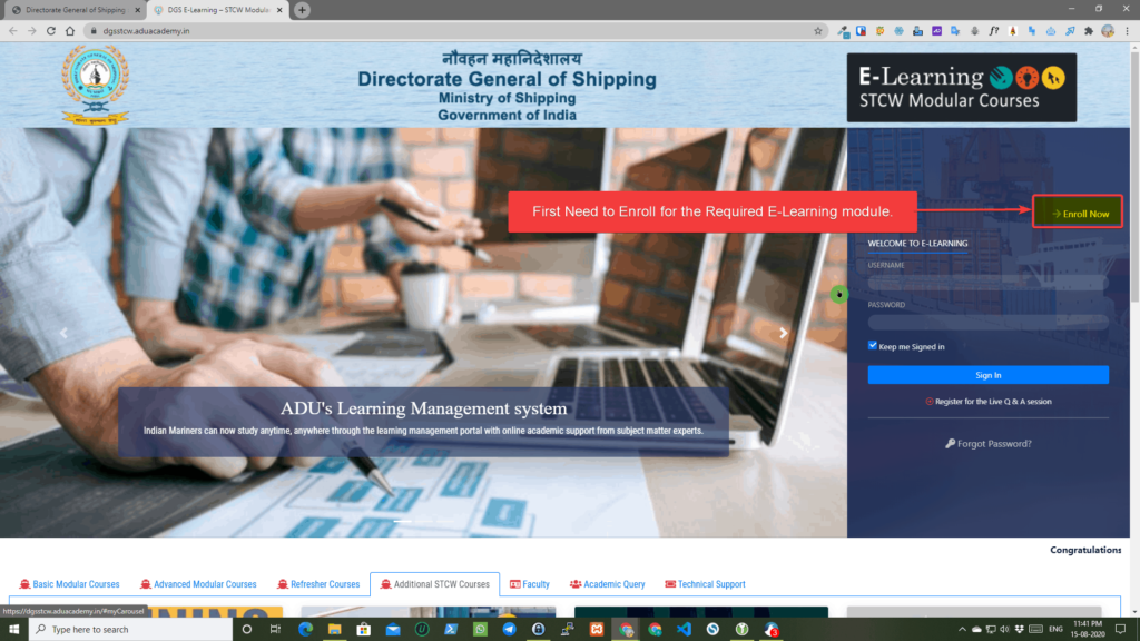 DG shipping Procedure to Enroll for E-Learning Module Step 2