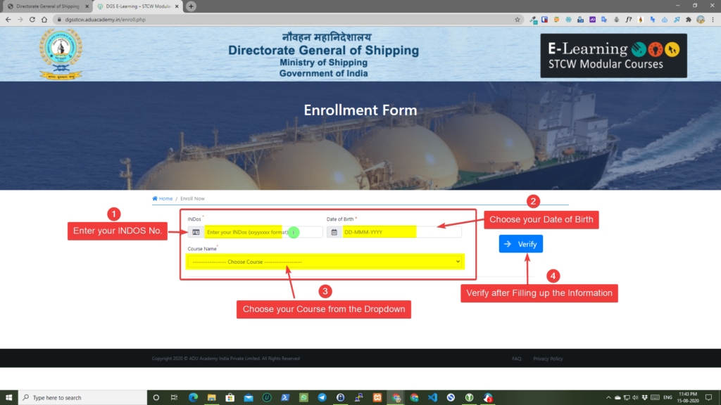 DG shipping Procedure to Enroll for E-Learning Module Step 3